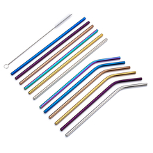 Amazon Hot Selling Metal Straw, Colorful Stainless Lid, Folding Drinking Straw