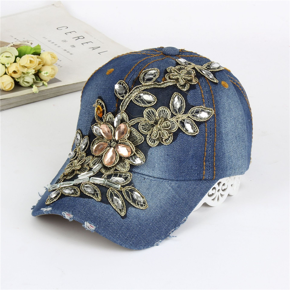 New Fashion For Women Rhinestone Hat Baseball Cap With Ribbon Diamante