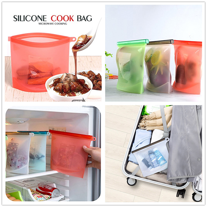 BPA free Leakproof Reusable Silicone Food Storage Bag,Washable Silicone Fresh Bag Fruits Vegetable Meats Prervation Container