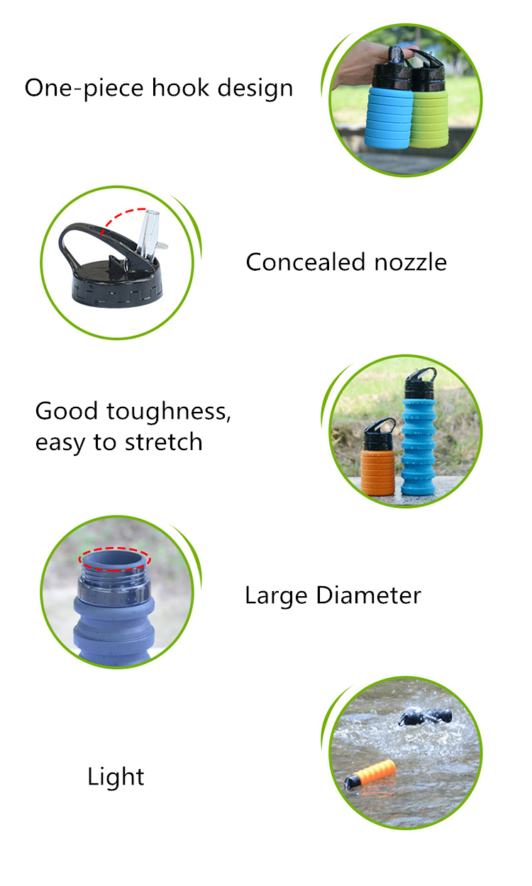 Stocked, Hot Products Portable Silicone Travel Camping Folding Cup/Collapsible Silicone Water Bottle